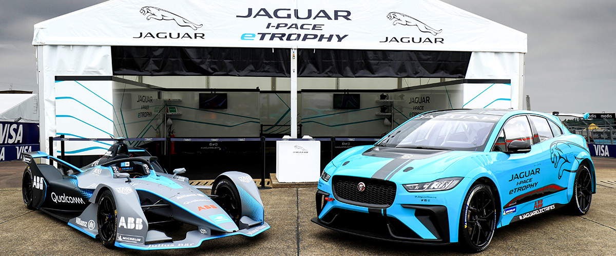 Formula E Gen2 car and Jaguar iPace eTrophy car.